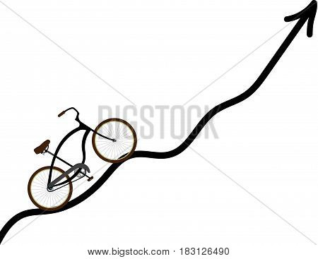 bike rides on the track isolated on white background. Vector illustration.