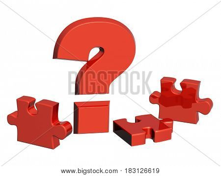 Part of a puzzle and question mark of red color. Isolated on white background. 3d render