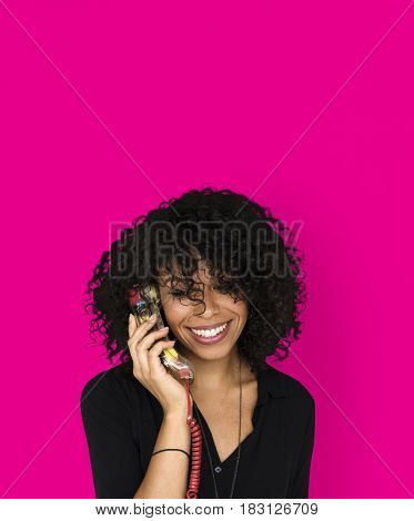 African descent woman talking by phone