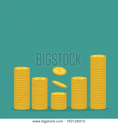 Stacks of gold coin icon. Diagram shape. Dollar sign symbol. Cash money. Going up graph. Income and profits. Growing business concept. Green background. Isolated. Flat design. Vector illustration