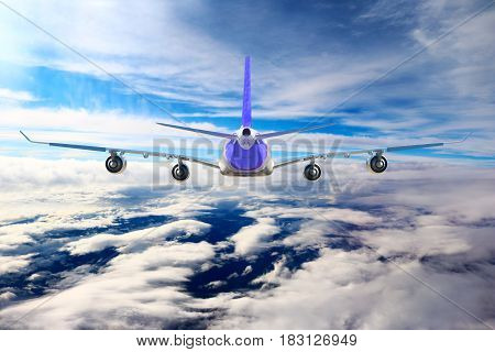 Plane in the sky flight travel transport airplane background blue