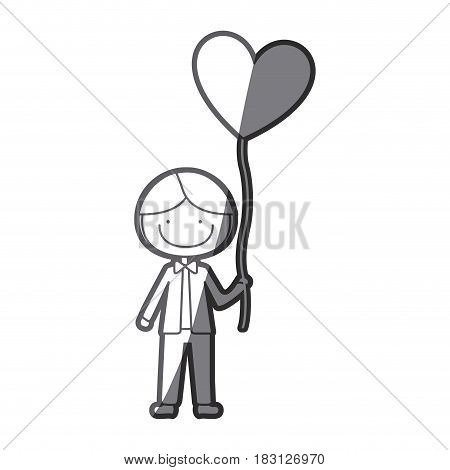grayscale silhouette of caricature of smiling kid with bow tie and balloon in shape of heart vector illustration