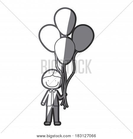 grayscale silhouette of caricature of smiling kid with bow tie and many balloons vector illustration