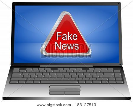 Laptop Computer with red Fake News warning sign - 3D illustration