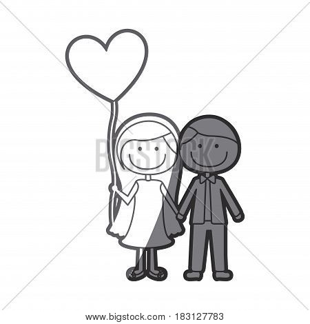 grayscale silhouette of caricature of couple him in formal suit and her in dress with balloon in shape of heart vector illustration