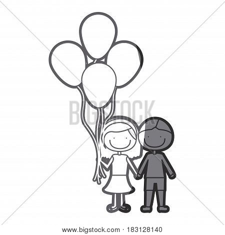 grayscale silhouette of caricature of couple in suit informal with many balloons vector illustration
