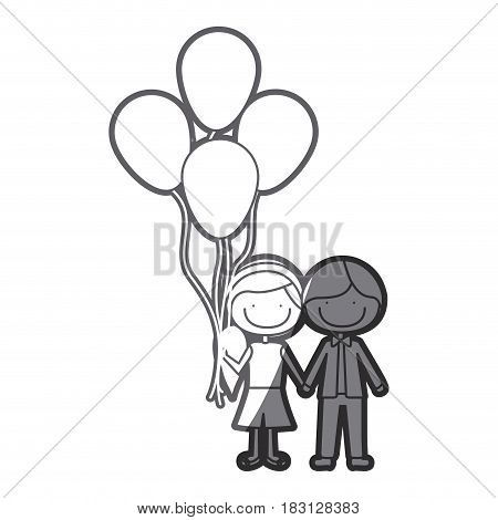 grayscale silhouette of caricature of boy short hair and girl with side hairstyle with many balloons vector illustration