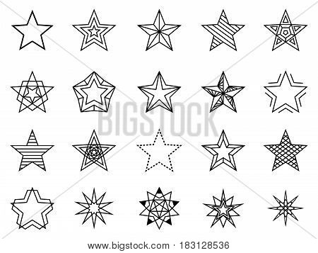 Linear stars vector set. Bethlehem and favorite sign, line shining and brightness star set