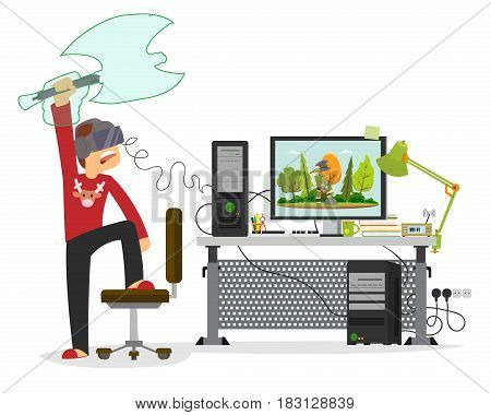 young man playing in a virtual computer game. vector illustration.