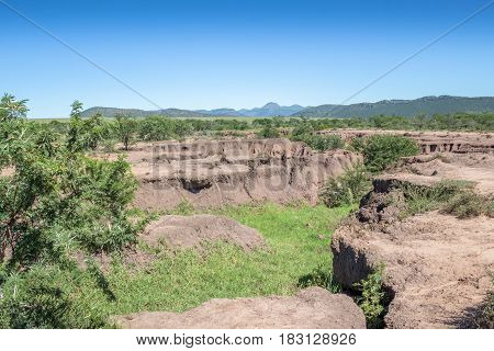 Soil erosion landscape due to deforestation and environmental mismanagement