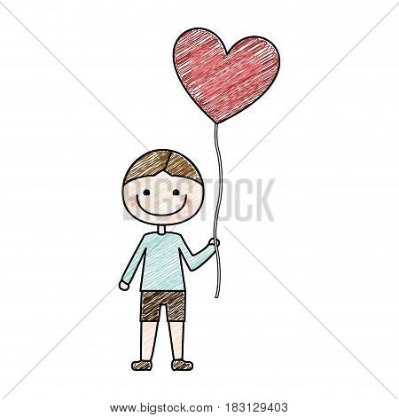 color pencil drawing of caricature of smiling kid with t-shirt and short pants with balloon in shape of heart vector illustration