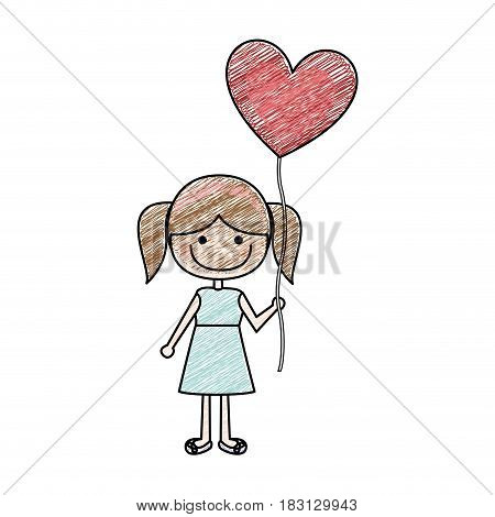 color pencil drawing of caricature of smiling girl in dress with balloon in shape of heart vector illustration