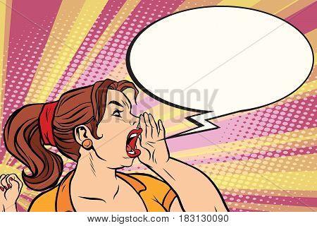 Female promoter announces a pop art style. Comic book illustration pop art retro color vector