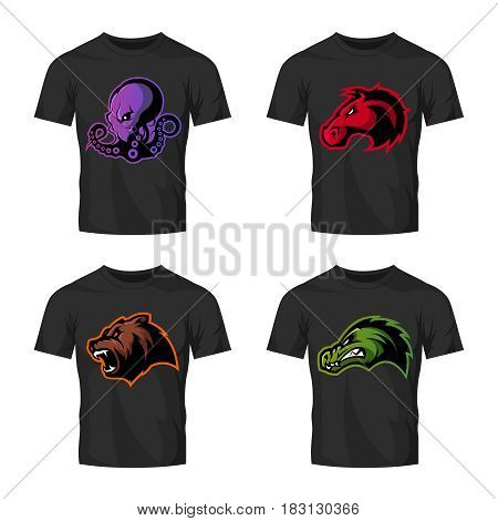 Furious octopus, bear, alligator and horse head sport vector logo concept set isolated on black t-shirt mockup.  Modern team badge design. Premium quality wild animal t-shirt tee print illustration.