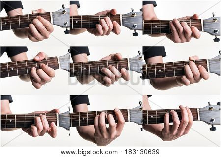 The Most Popular Chords Are A, Am, C, D, Dm, E, Em, F, Fm On A Guitar, On A White Background. Horizo