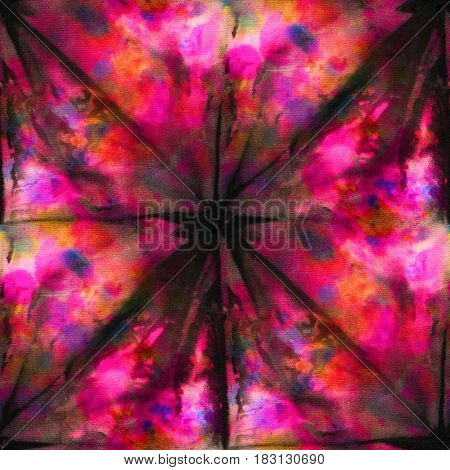 Seamless tie-dye pattern of black and red color on white silk. Hand painting fabrics - nodular batik. Shibori dyeing.