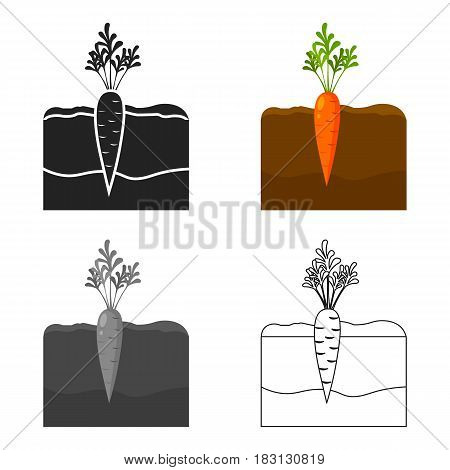 Carrot icon cartoon. Single plant icon from the big farm, garden, agriculture cartoon.