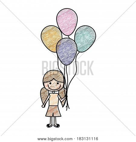color pencil drawing of caricature of smiling girl with short pants and pigtails hairstyle and many balloons vector illustration