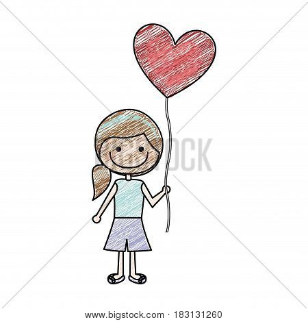 color pencil drawing of caricature of smiling girl with short pants and ponytail hair and balloon in shape of heart vector illustration