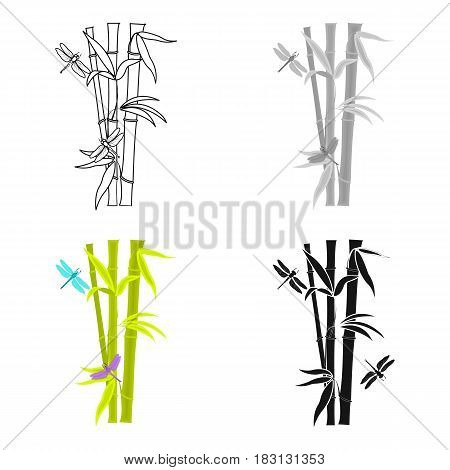 Bamboo icon in cartoon style isolated on white background. Japan symbol vector illustration.