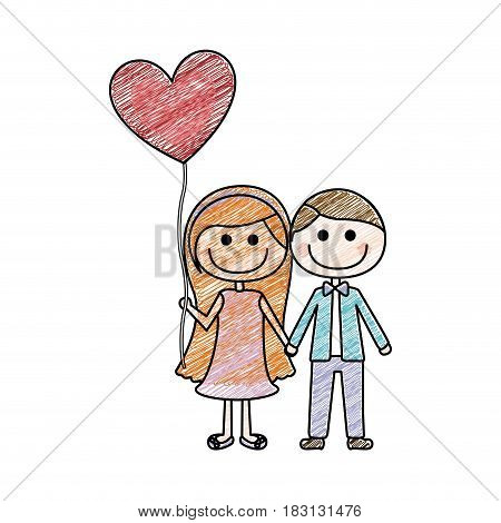 color pencil drawing of caricature of couple him in formal suit and her in dress with balloon in shape of heart vector illustration