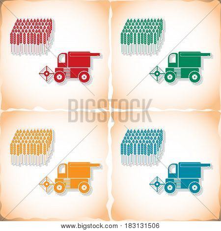 Combine-harvester gathers the wheat. Flat sticker with shadow on old paper. Vector illustration