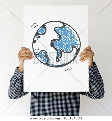 Man hands hold show paper with global symbol