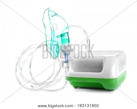 Nebulizer for asthma and respiratory diseases on white background