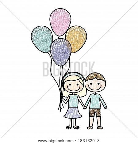 color pencil drawing of caricature of couple in suit informal with many balloons vector illustration