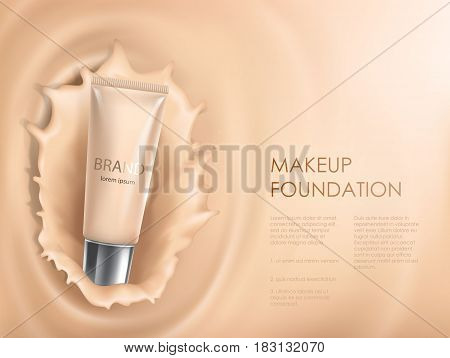 Vector 3D cosmetic illustration for the promotion of foundation premium product. Colorstay make-up in glass bottle against the backdrop of a splash of foundation