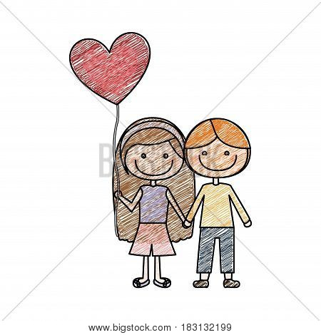 color pencil drawing of caricature of couple kids in casual clothes with balloon in shape of heart vector illustration