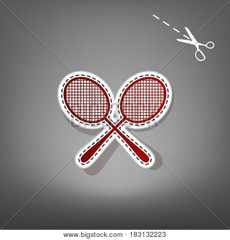 Tennis racquets sign. Vector. Red icon with for applique from paper with shadow on gray background with scissors.