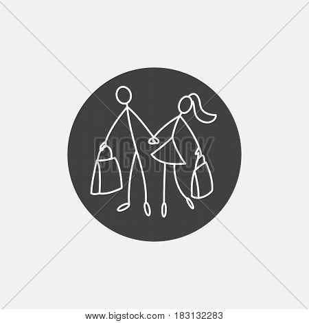 Shoppers stick figure people family icon vector