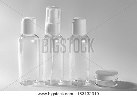 White Cosmetic Bottles On White Background. Wellness, Spa And Body Care Bottles Collection. Beauty T