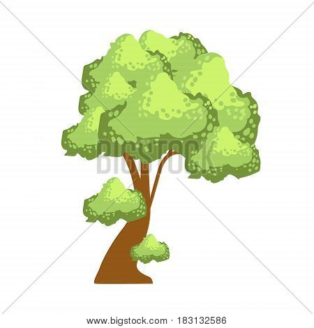 Tree with lush green foliage, element of a landscape. Colorful cartoon vector Illustration isolated on a white background