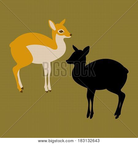 mouse deer vector illustration style Flat set