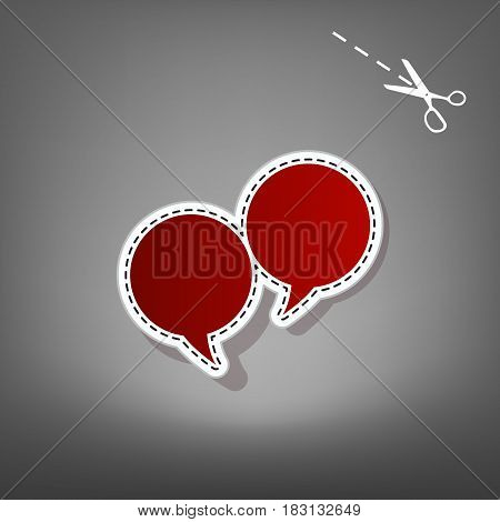 Two speech bubble sign. Vector. Red icon with for applique from paper with shadow on gray background with scissors.