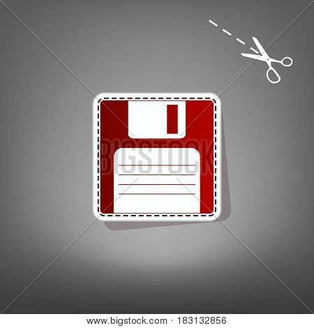 Floppy disk sign. Vector. Red icon with for applique from paper with shadow on gray background with scissors.