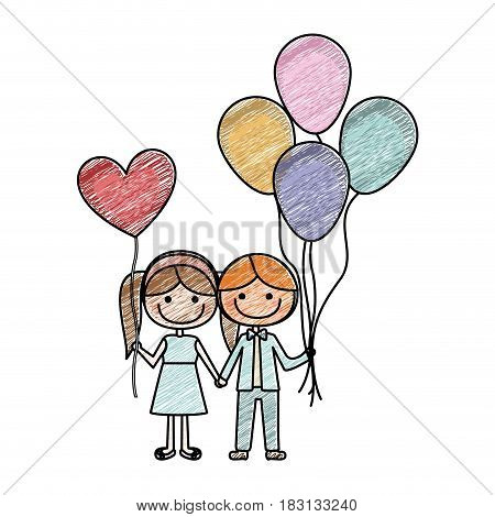 color pencil drawing of caricature of boy with many balloons and her with balloon in shape of heart vector illustration