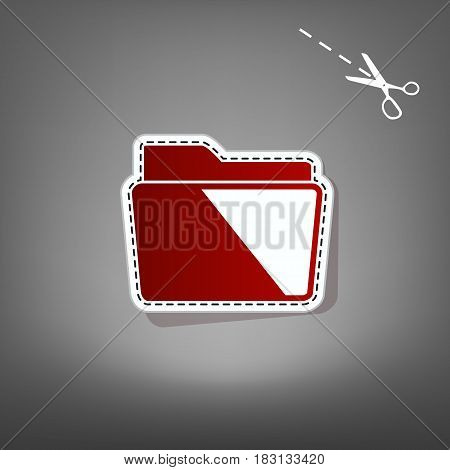 Folder sign illustration. Vector. Red icon with for applique from paper with shadow on gray background with scissors.