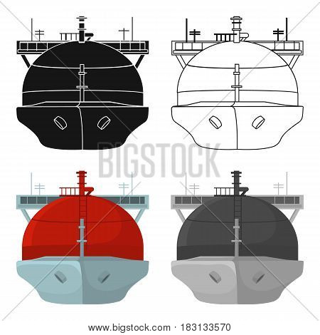 Oil tanker icon in cartoon style isolated on white background. Oil industry symbol vector illustration.