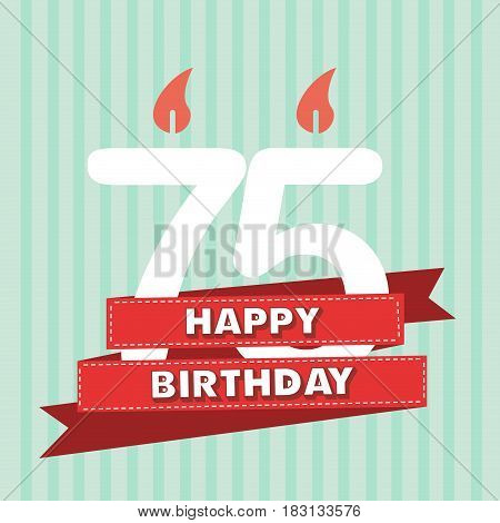 75 years old vintage happy birthday in vector flat design
