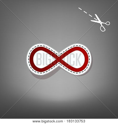 Limitless symbol illustration. Vector. Red icon with for applique from paper with shadow on gray background with scissors.