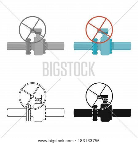 Oil pipe with valve icon in cartoon style isolated on white background. Oil industry symbol vector illustration.