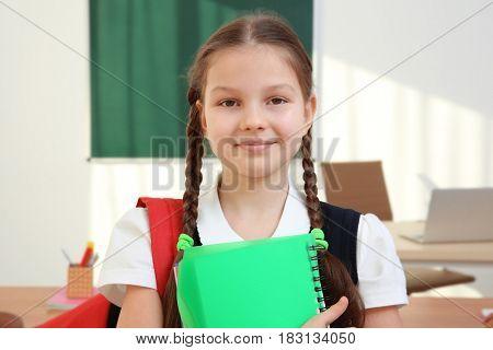 Portrait of beautiful elementary schoolgirl standing in classroom
