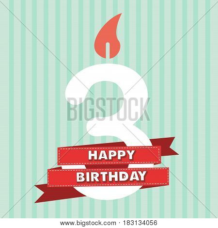 3 years old vintage happy birthday in vector flat design