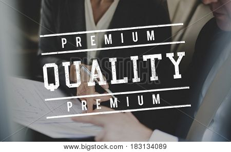 Business people discussion busy and stamp quality premium icon