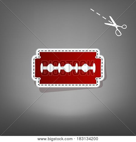 Razor blade sign. Vector. Red icon with for applique from paper with shadow on gray background with scissors.