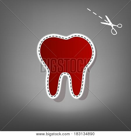 Tooth sign illustration. Vector. Red icon with for applique from paper with shadow on gray background with scissors.