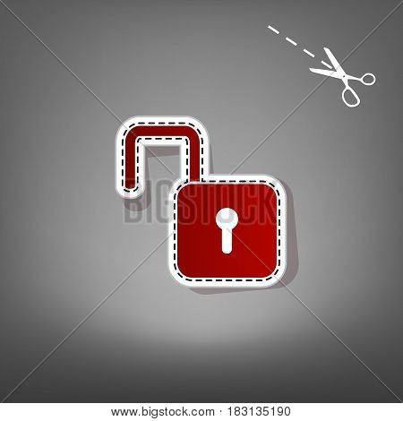 Unlock sign illustration. Vector. Red icon with for applique from paper with shadow on gray background with scissors.